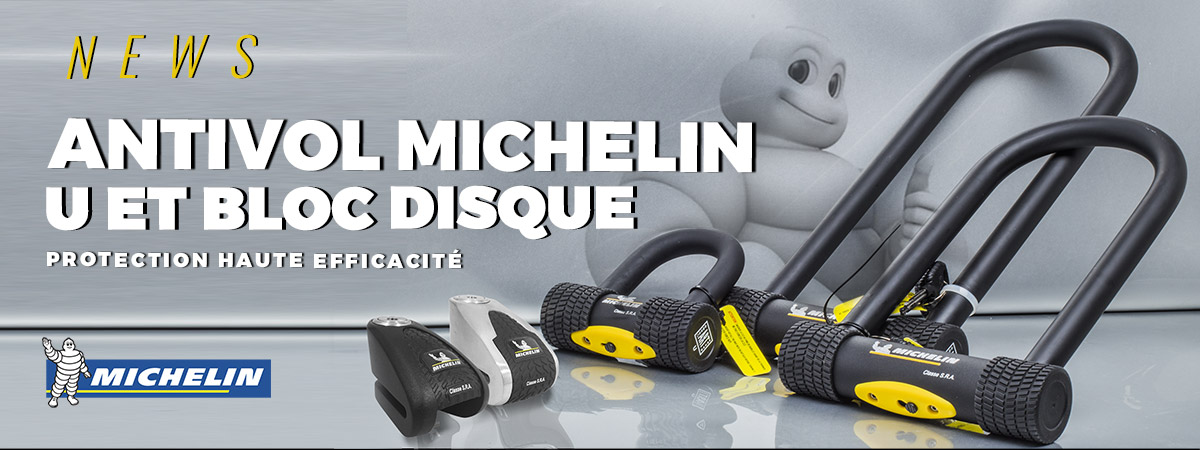 Image de présentation de la gamme d'antivol U et bloque disque de la marque Michelin