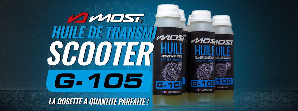 Image de présentation des nouvelles dosettes d'huile de transmission scooter Most G-105
