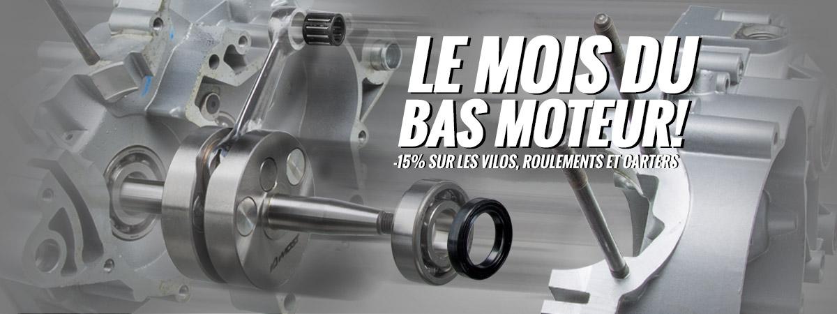 Image d'accueil de présentation de la promotion sur les bas moteur dont les vilebrequin, roulements et carters moteur