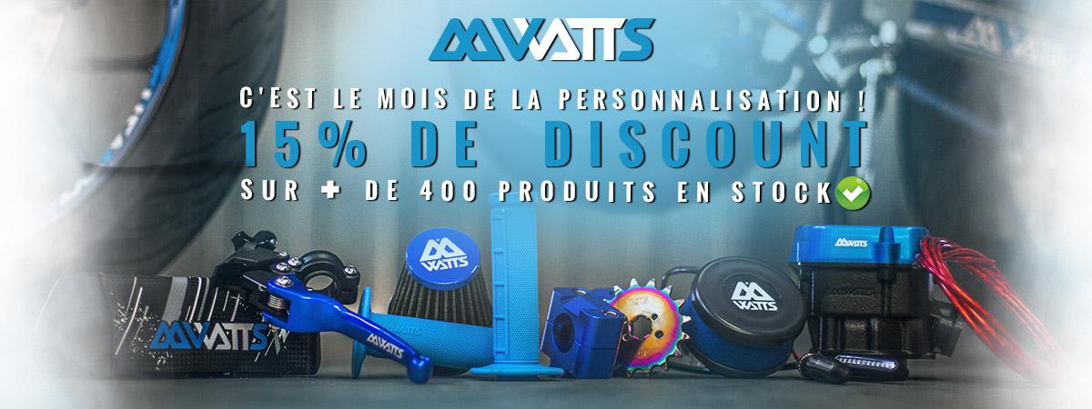 Image de présentation de la promotion sur les pièces et accessoires pour moto et scooter de la marque Watts