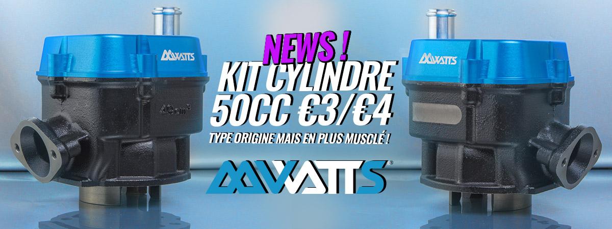 Image d'accueil de présentation des nouveaux kits cylindre 50cc pour moto Derbi de la marque WATTS