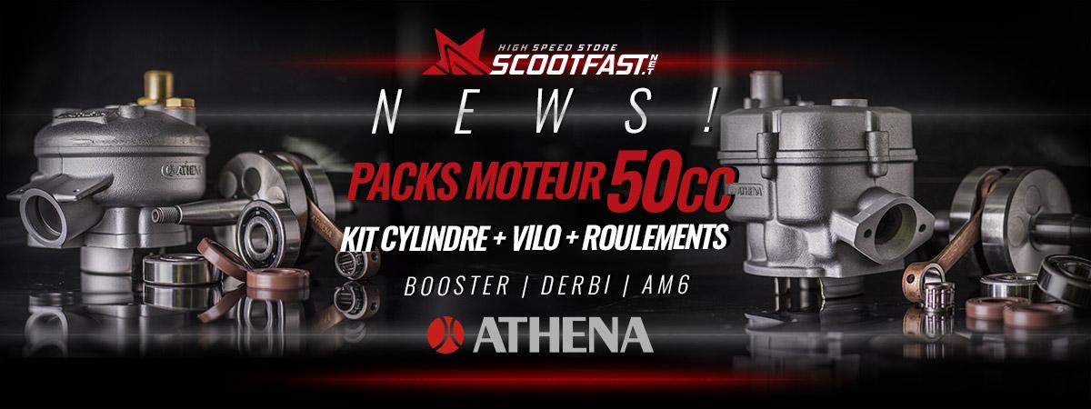 image d'cceuil de présentation des nouveaux packs moteurs 50cc de la marque Athena pour MBK Booster derbi et AM6