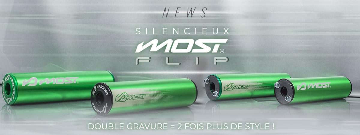 Visuel de présentation des nouveaux silencieux Most Racing Flip de couleur verte