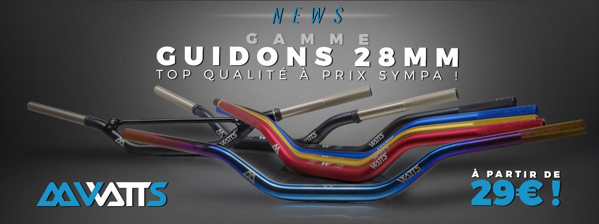 Image de présentation des nouveaux guidons moto diamètre 28,6mm de la marque Watts