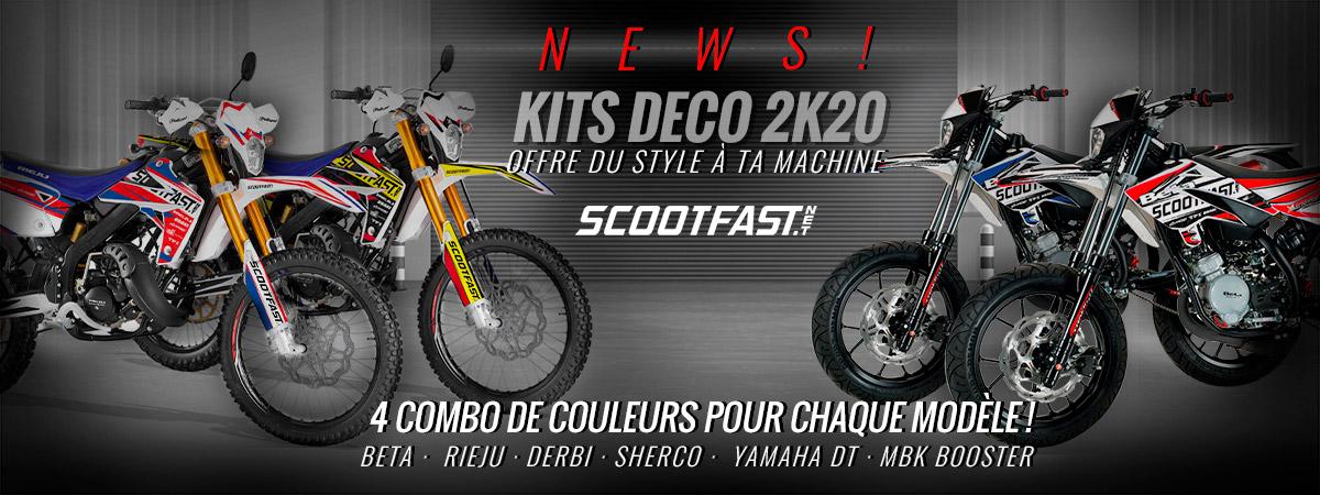 Image d'accueil de présentation des nouveaux kits déco ScootFast 2020 pour moto 50cc rieju, beta, sherco, yamaha DT et MBK Booster
