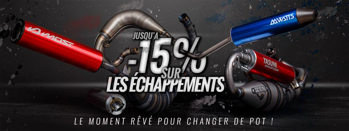 Visuel d'acceuil de présentation de la promotion sur les pots d'échappement 50cc moto, scooter, mob et pit bike