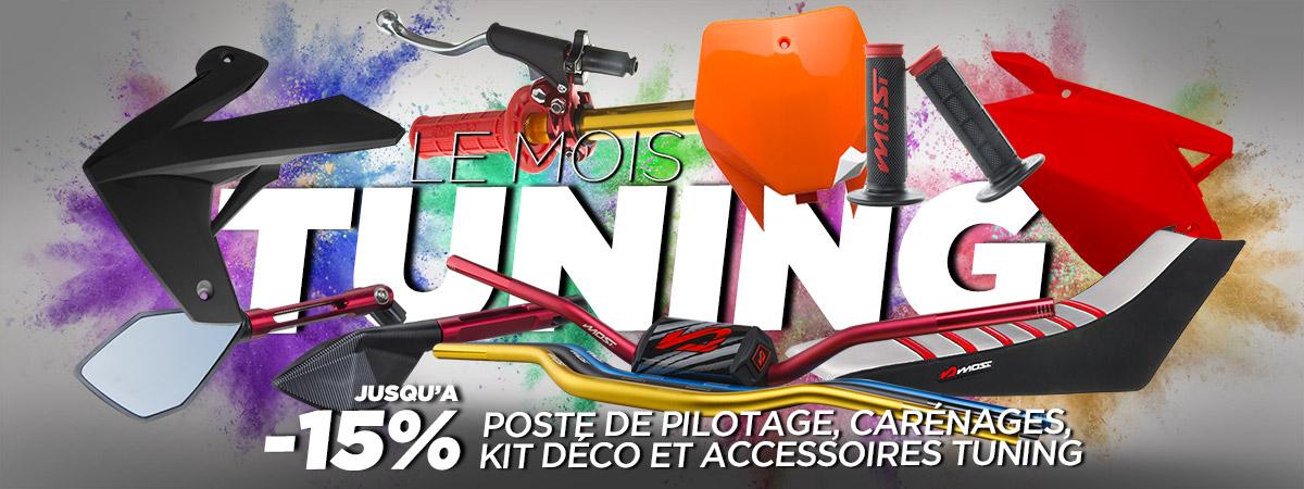 Image de carrousel d'accueil de présentation de la promotion sur les pièces esthétique et tuning de motos, scooters et pitbikes