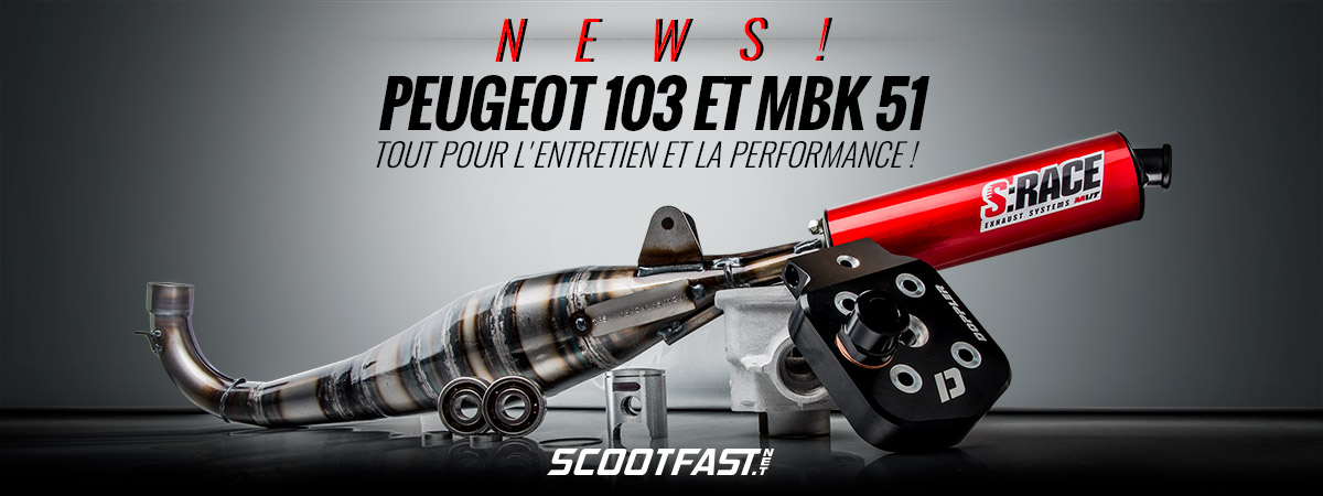 Image de présentation de pièces de rechange et accessoires performance pour les mobs Peugeot 103 et MBK 51