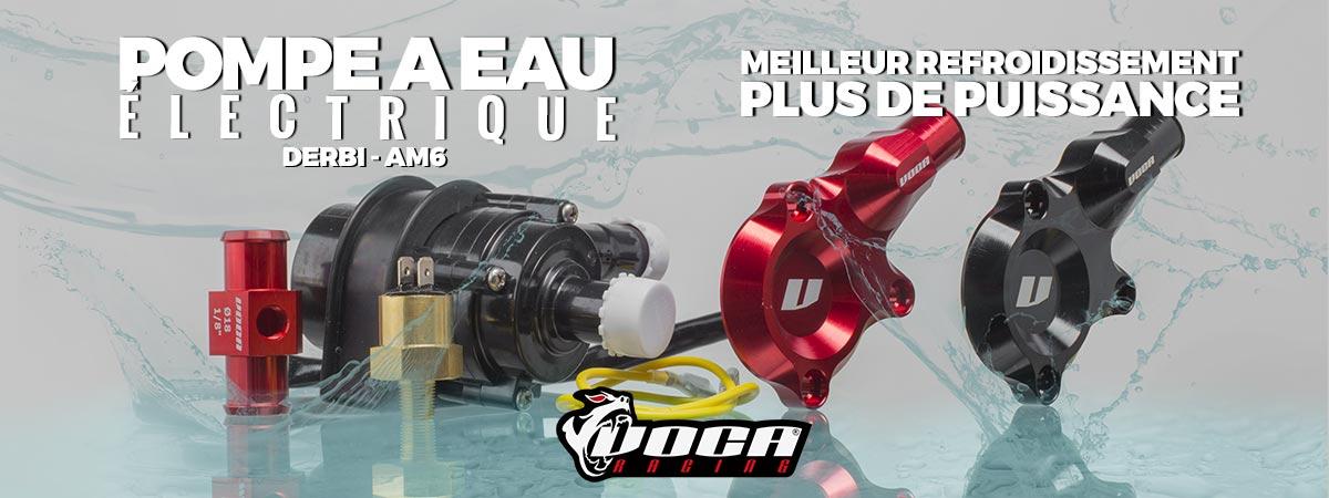 Image de présentation de la nouvelle pompe à eau électrique Voca pour motos Derbi et AM6