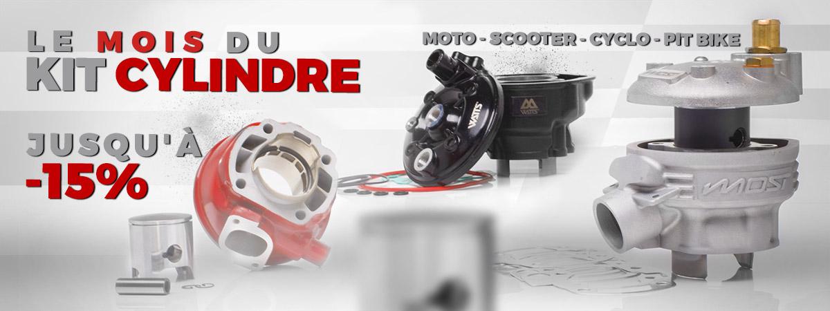 image de présentation de la promotion sur les kits cylindres pour moto, scooter et pit bike.