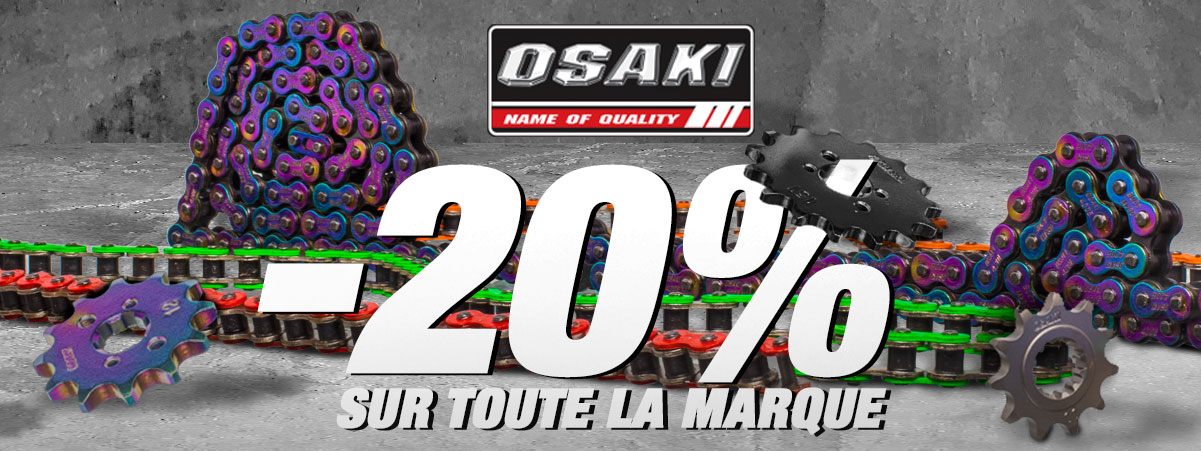 Visuel de présentation de la promotion de 20% sur les pignons et chaine moto de la marque Osaki