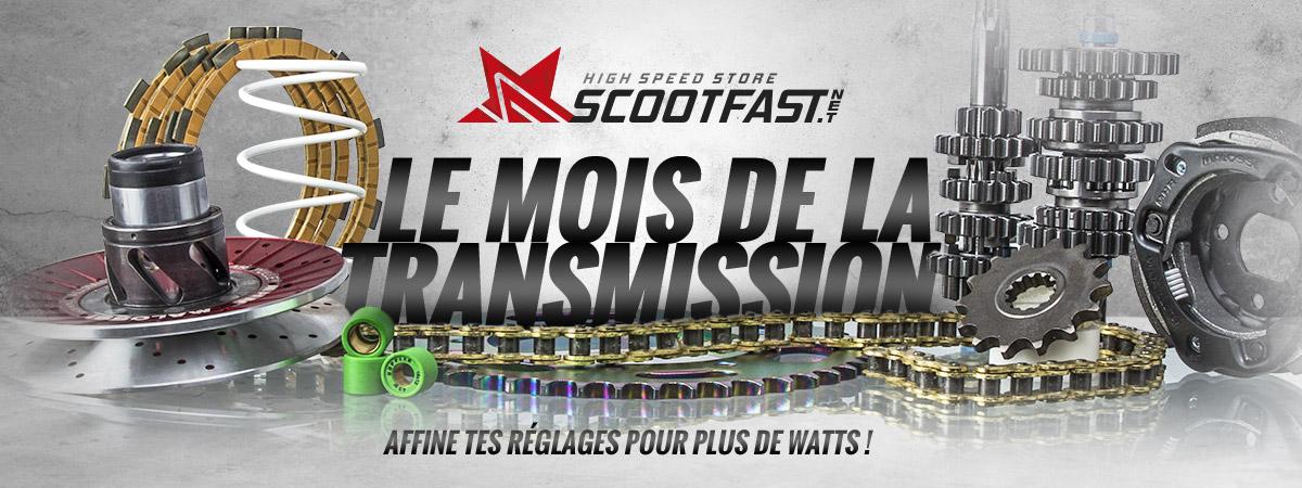 image d'accueil de présentation du mois de transmission scooter, moto et pit bike sur le store scootfast