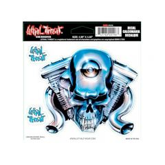 Autocollant Lethal Threat Chrome Engine Head Skull 15x14cm