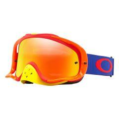 Masque Cross Oakley MX Crowbar Flo bleu et rouge écran irridium