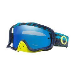 Masque Cross Oakley MX Crowbar Braking Bumps bleu et vert écran iridium et transparent