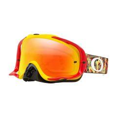 Masque Cross Oakley MX Crowbar Camo Vine rouge et jaune écran iridium et transparent