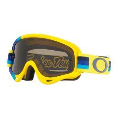 Masque Cross Oakley O Frame MX Troy Lee Designs Pre-Mix jaune et bleu écran fumé