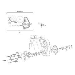 Eclaté moteur - Pompe à eau Derbi Euro 3
