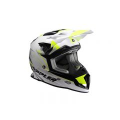 Casque cross Doppler blanc et jaune