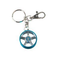 Porte clés jante bleu