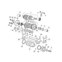 Eclaté moteur - boite de vitesse Derbi Euro 3 et 4