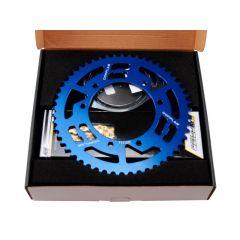 Kit chaine Doppler Derbi - Gilera - Aprilia 14X53 bleu