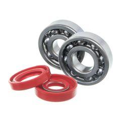 Kit roulements et spi rouge de vilebrequin Watts Minarelli AM6 (6303 C3 et 6204 C4)
