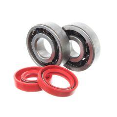 Kit roulements céramiques et spi rouge de vilebrequin Most Minarelli AM6 (6303 C3 et 6204 C4)