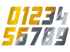 Autocollant numéro chromé et or