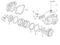 Eclaté moteur - Embrayage Minarelli AM6