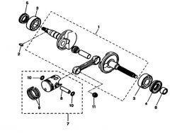 Eclaté moteur - vilebrequin MBK Nitro
