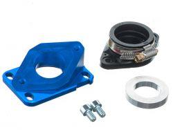 Pipe d'admission aluminium MOST 21 à 28 mm PWK bleu AM6 et Derbi