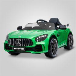 Voiture jouet électrique pour enfant et bébé modèle Mercedes AMG GT-R vert