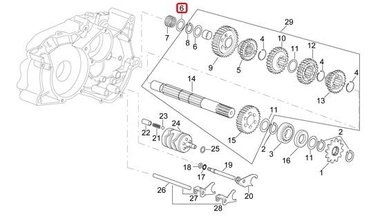 rondelle boite de vitesse secondaire minarelli am6