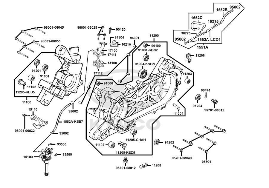 carter moteur gauche origine kymco agility 50 2t rs naked. Black Bedroom Furniture Sets. Home Design Ideas